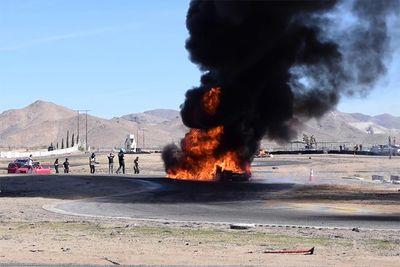 Automotive,news,burn,Rudy Hansen,Apple Valley Speedway,drift,racing,drifting,wreck,burned,flames,Chevrolet Corvette C4,Drift Week 2020,